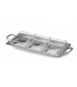 Pewter rectangular divided dish cm 15,5x30