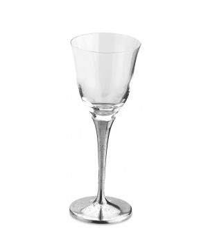 Pewter & crystal white wine glass h cm 20