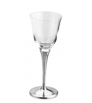 Pewter & crystal water glass h cm 21,5