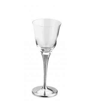 Pewter & crystal white wine glass h cm 19