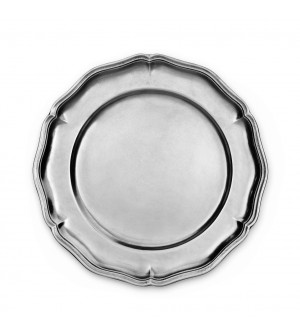 Pewter scalloped plate ø cm 33