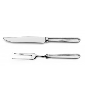 Pewter & stainless steel carving set cm 29