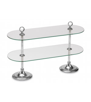 Pewter two-tiered buffet stand cm 26x72 - h cm 45