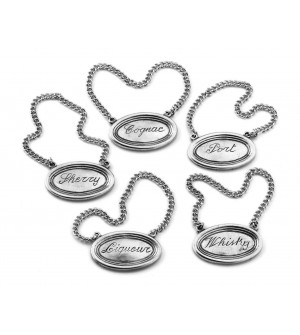 Pewter bottle tags cm 5,5 - set of five