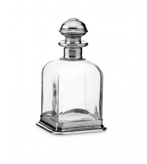 Pewter & glass square whisky bottle cm 22,5