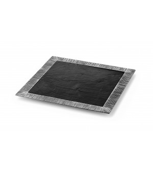 Pewter square tray with slate liner cm 33x33