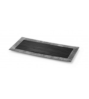 Pewter elongated tray with slate liner cm 21x45