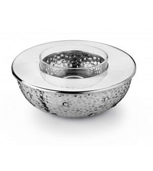 Pewter hammered caviar bowl ø cm 20 - h cm 7
