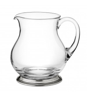 Pewter and glass pitcher h 18,5 cm - 1,5 Lt