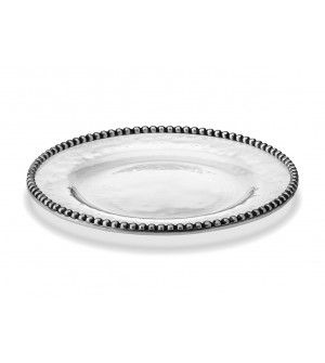 Pewter and glass dessert plate ø cm 21