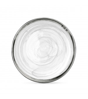 Pewter & alabaster-white glass dinner plate ø 27,8 cm