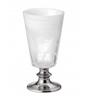 Pewter & alabaster-white glass goblet h 13 cm