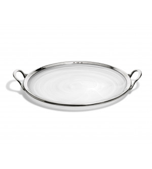 Pewter & alabaster-white glass tray ø 38 cm