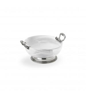 Pewter&alabaster-white glass sm bowl ø 16 cm h 7,2