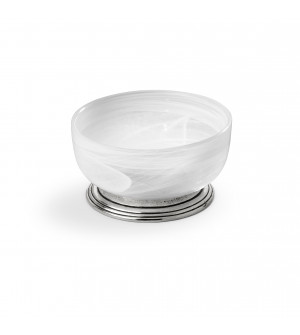 Pewter & alabaster-white glass compotes, 2 pcs