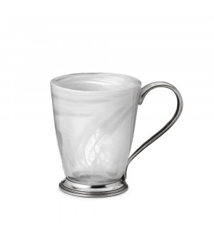 Pewter & alabaster-white glass mug h 11,5 cm ø 9,5