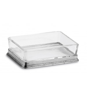 Pewter and crystal butter dish cm 8x11