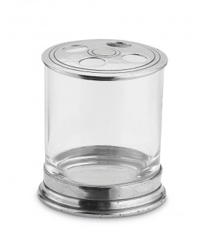 Pewter & Glass Toothbrush holder h 9 cm