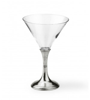 Pewter & glass Martini glass h cm 16,5
