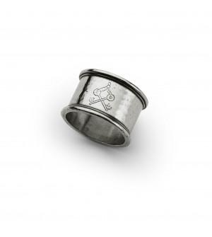Pewter round engraved napkin ring ø cm 5