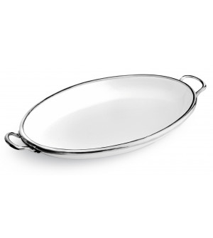 Pewter&Ceramic oval dish w/handles cm 45,5x29,5