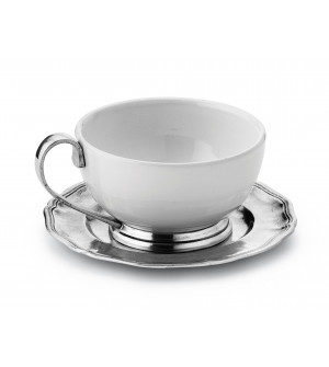 Pewter and ceramic cup & saucer ø cm 11