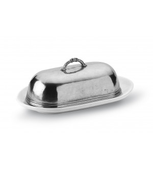 Pewter and ceramic oval butter dish cm 20