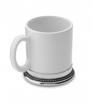 Pewter and ceramic mug h cm 10