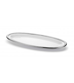 Pewter and ceramic elongated oval tray cm 57x25,5