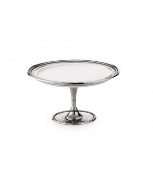 Pewter & ceramic dessert stand h 11,5 ø 22 cm