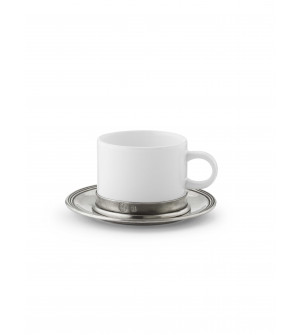 Tea cup with pewter saucer ø 14,5 cm