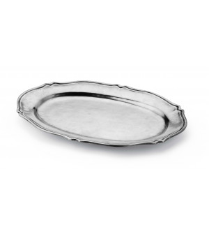 Pewter oval scalloped tray cm 31x44