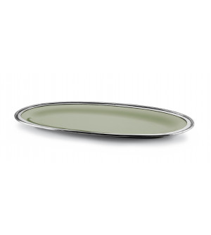 Pewter&ceramic oval serving platter cm 30x61