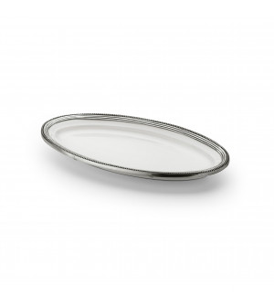 Pewter & ceramic oval dish cm 33,5x18