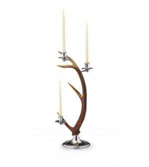 Pewter & deer horn candleholder cm 58