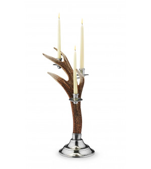 Pewter & deer horn candleholder cm 61