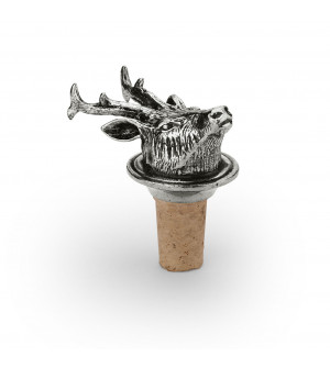 Wine stopper with roe-deer pewter head h 6,5 cm