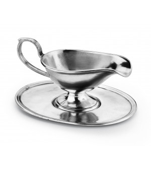 Pewter gravy boat with tray cm 15x9 - h cm 8