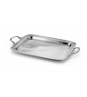 Pewter rectangular tray w/handles cm 29,5x39