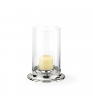 Pewter & glass hurricane lamp ø cm 29,5 - h cm 39