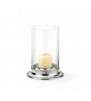 Pewter & glass hurricane lamp ø cm 29,5 - h cm 39