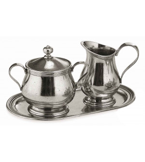 Pewter creamer & sugar with oval tray cm 14x24