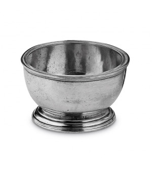 Solid pewter round footed bowl ø 12 cm