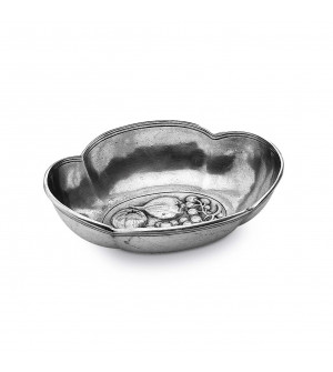 Pewter oval bowl cm 16x19 h 5