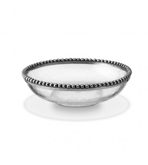 Pewter and glass round bowl ø cm 21