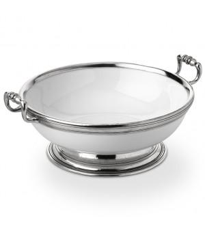 Pewter & Ceramic round fruit bowl w/handles ø 26 h 10 cm