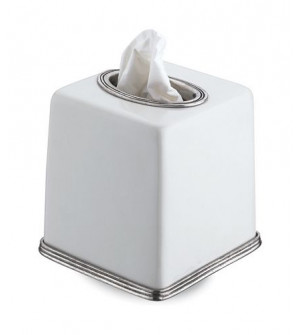 Pewter and ceramic tissue box cm 14x14,5h