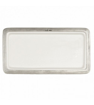 Pewter and ceramic rectangular tray cm 31x16