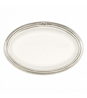 Pewter and ceramic oval soap dish cm 11,5x17