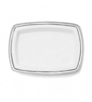 Pewter & ceramic rectangular dish cm 49x35,5